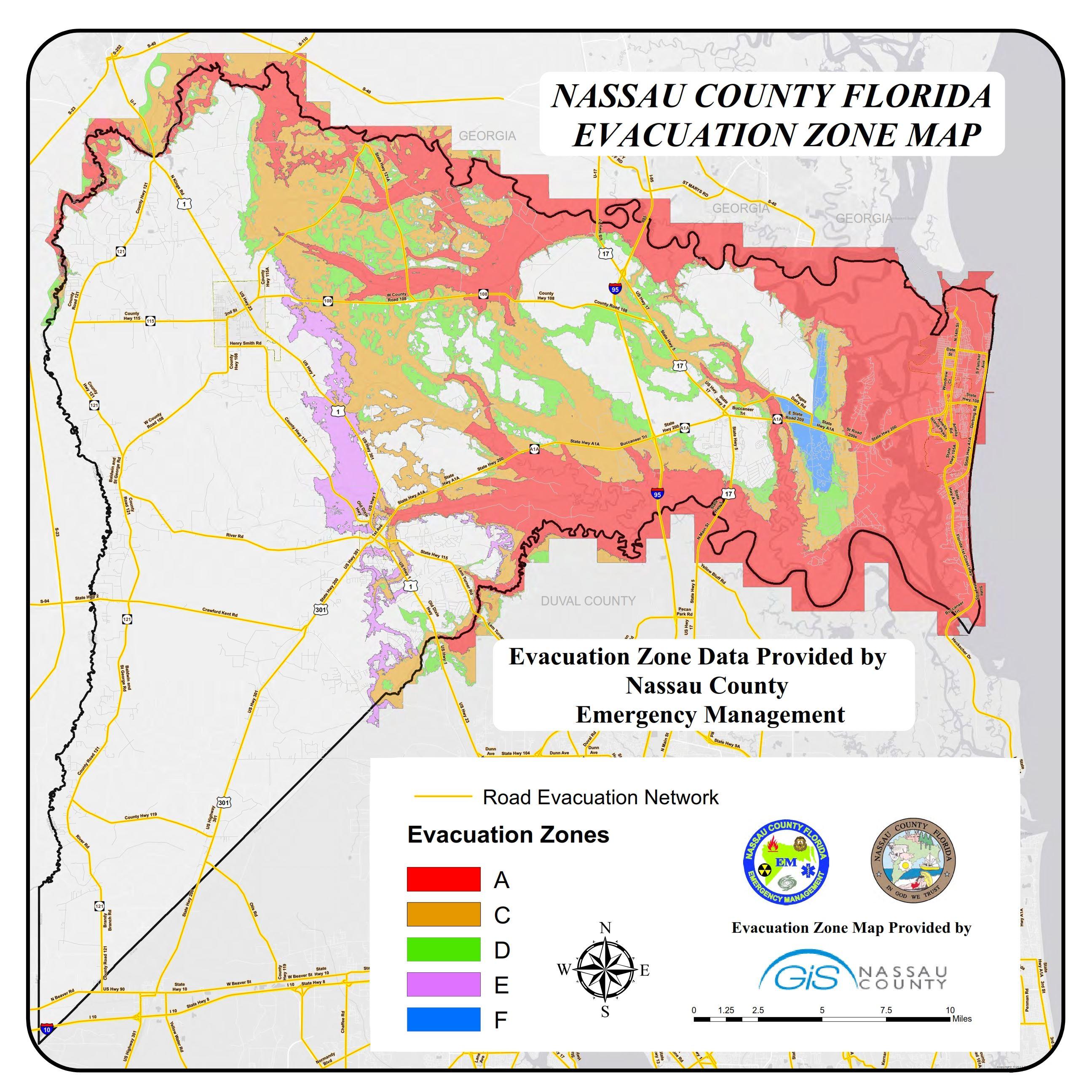 Hurricane Risk Map Florida.Evacuation Zones And Storm Tide Surge Nassau County Official Website